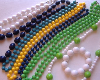 Lot of 8 Brightlly Colored, Fun & Retro Bead Necklaces. Graduated, Double Strands, All have clasps. Estate Lot.