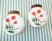 SALE - Red Tulip Fire King Vitrock Salt and Pepper Shakers, 1940s