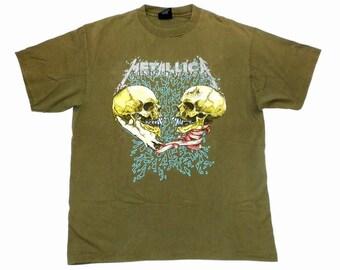 Metallica Vintage 90's Sad But True Concert T Shirt 1991 Pushead Art Black LP Heavy Metal Olive