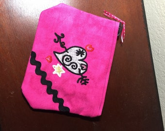 Embroidered Heart Zipper Pouch