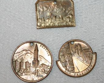 Three Vintage Brass Medallions - Chicago, Seattle and San Francisco
