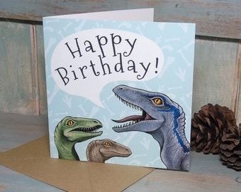 Velociraptors Illustration Square Happy Birthday Card - 280gsm White Card 150 x 150mm Blank Inside with Brown Recycled Envelope