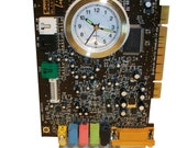 "FREE SHIPPING USA! Alarm Clock from Recycled ""Sound Blaster"" Circuit Board. Cool Geek Gift."