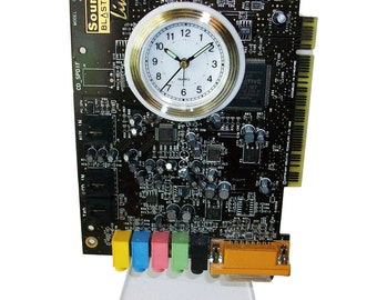"""FREE SHIPPING USA! Alarm Clock from Recycled """"Sound Blaster"""" Circuit Board. Got Geek Gift?"""