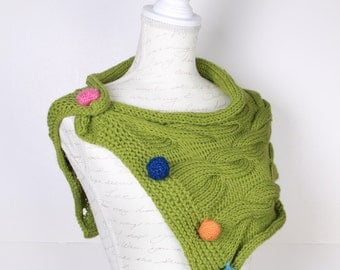 Neck warmer ,Green  blue, orange, pink handmade buttons .