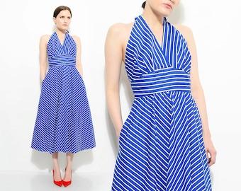 Vintage 70s does 50s Blue Chevron Striped Sundress Marilyn Monroe Halter Dress Retro Circle Skirt Midi Dress Cobalt White Small S