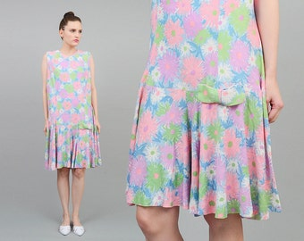 Vintage 60s Pastel Floral Dress Drop Waist BOW Playsuit 1960s Mod Scooter Jumper Purple Pink Green Large L XL