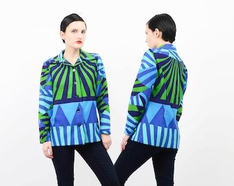 60s BOLD Geometric Shirt Graphic Print 1970s Mod Top Button Up Knit Blouse Blue Green Medium M