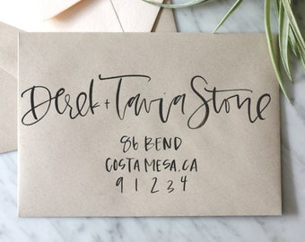 Kraft and Black Ink Brush Hand Lettered Envelope Calligraphy