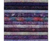 HOP Batavian  Purple Wilmington Prints. 12 Fat Quarter Bundle Pre-Cuts!  Fat Quarter Batik Sampler--100% Cotton