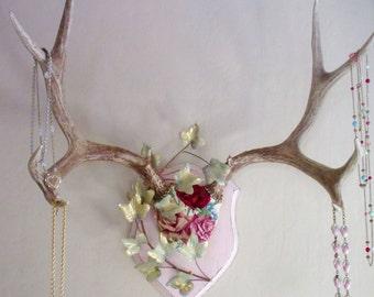 Huge Genuine Antlers, Vintage Needlepoint Roses, Jewelry Hanger, Hat Rack