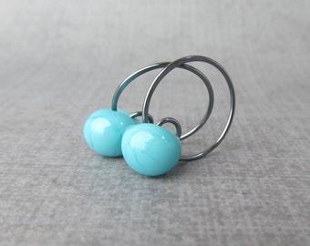 Robins Egg Blue Hoops, Small Blue Earrings, Lampwork Earrings Blue, Small Dark Wire Hoop Earrings, Oxidized Sterling Silver Earrings Hoops