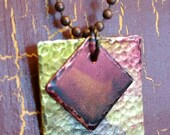 Mixed Metal Brass and Copper Pendant Embellished with Red, Olive & Grape Ink