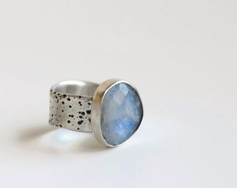 Rainbow moonstone ring with wide silver band, size 7.75, fits 7.5-8.0