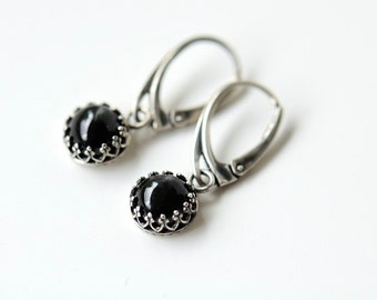 Black star diopside earrings, dangly earrings sterling silver with leverbacks