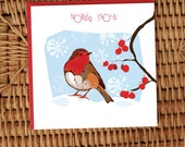 Nollaig Shona Robin with red berries and snow greeting card