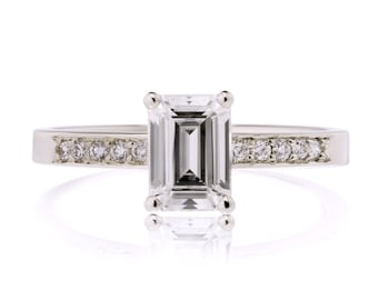 Emerald Cut Engagement Ring, Moissanite Engagement Ring, Emerald Moissanite Engagement Ring, Made to Order in 3-4 weeks
