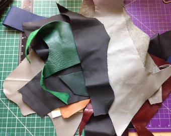 Leather scraps, randomly picked, over 10 colour