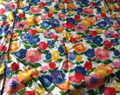 Vintage Unused Floral Tulips Cotton Twin Bedspread