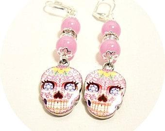 Skull Earrings, Pink Earrings, Cinco de Mayo, Skull Dangles, Pink Skull Earrings, Biker Chicks, Sugar Skull Earrings