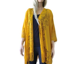 Golden corn Bohemian Lace Kimono -Corn yellow-Golden mustard yellow-Fringe kimono cardigan-Oversize kimono
