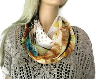 Chiffon infinity scarf in Taupe floral -Taupe ,brown,yellow,teal chiffon infinity Scarf/ cowl Instant gratification