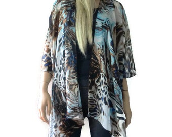 Water and Earth  Kimono/ Kimono cardigan- Gorgeous colors and print-Lagenlook kimono chiffon kimono-ruana-  summer collection-Women Kimonos