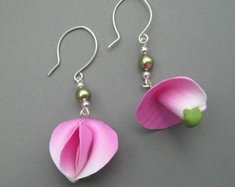 Sweet Pea Earrings, Pink and White Floral Jewelry, Sculpted Flower Earrings, Long Polymer Clay Dangle Earrings, Sterling Silver