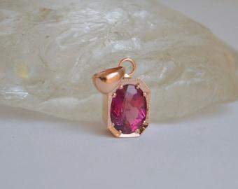 8x6mm Pink Tourmaline Oval in 14K Rose Gold Octagon Bezel