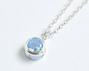 Sterling Silver Bezel Set Imitation Aquamarine Necklace / Small Round Aquamarine Pendant / March Birthstone Necklace / 16 inch / 18 inch