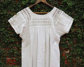 White on White  embroidery Mexican Wedding dress Deshilado