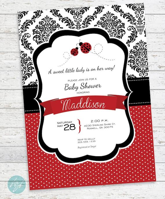 Ladybug Baby Shower Invitation Ladybug Party Baby By