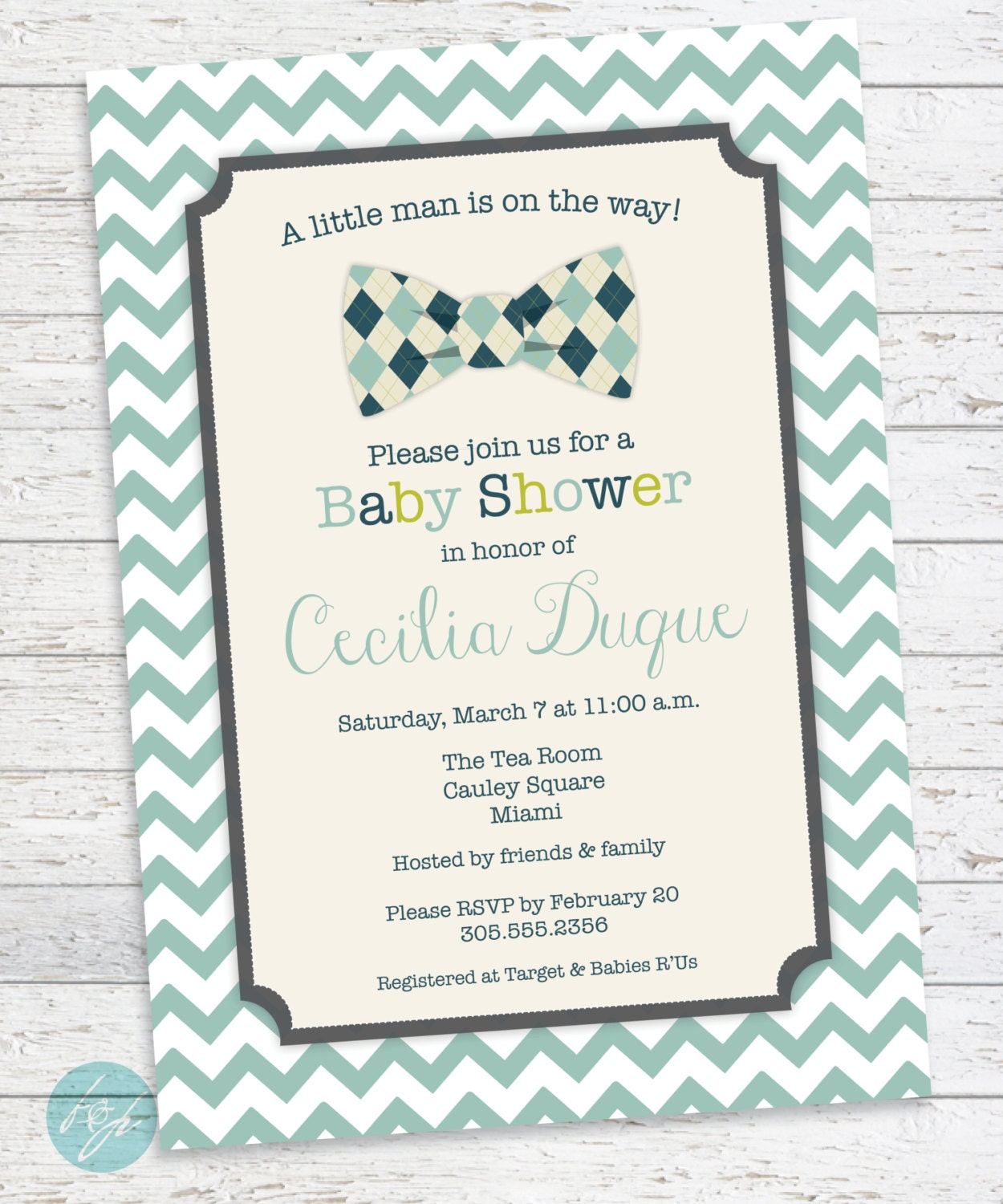 Snap Baby Shower Invitation Argyle Bow Tie Golf Baby by ...