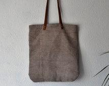 SALE - Tote bag grey handmade handbag naturally dyed shopper woven purse antique linen leather manbag oyster mink mushroom beige pink ideas