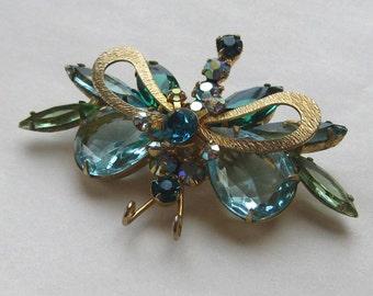 Vintage Rhinestone Bug Brooch