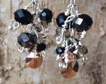Black and rose earrings