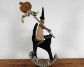 WITCH CAT JACK rocking horse folk art primitive punch needle