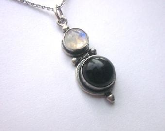 Sterling Moonstone Black Onyx Pendant Gemstone Jewelry