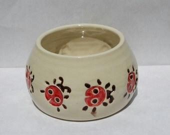 Spaniel Bowl. Spaniel Bowls. Spaniel Dog Bowl. Water. Water Bowl. Dog Bowl. Ladybug. Ladybugs. Unique. Handmade. Ceramic. Ceramic Ladybug