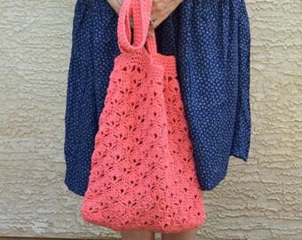 Crochet tote cotton tangerine coral beach farmers market boho bohemian
