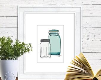 Mason Jars Illustration - 5x7 Kitchen Wall Art Instant Printable