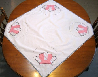 Vintage Table Linen, Quilted Table Topper, Tablecloth,Handmade, Shabby Chic, by NormasTreasures on etsy