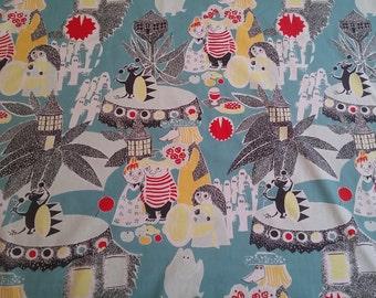 SUPER SUMMER Moomin fabric SATUMUUMI cotton smooth blue and turquoise tillukka