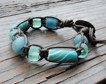 Teal Recycled Glass Bracelet - Leather Macrame Bracelet, Teal Recycled Glass Krobo Beads, Brown Leather Bracelet