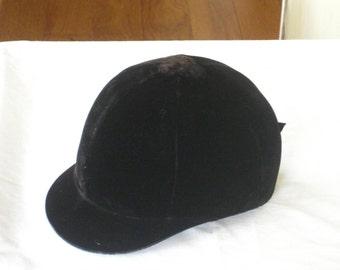 Vintage Equestrian Horse Helmet, Black Velvet English Horse Hat, Childs Horse Riding Cap