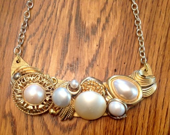 Gold and pearl vintage assemblage necklace