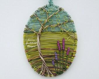 Silver Birch pendant, wire tree pendant, tree of life, wire scene pendant, wire picture, heather pendant, nature inspired