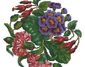 Carnations Berlin wool work pattern for cross stitch or petit point needlework