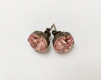 Rose Peach Earrings, 12mm Cushion Cut Swarovski Rose Peach Crystals,  Set In Vintage Patina Antique Brass, Post Setting, Stud Earrings