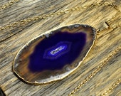 Valentine SALE - Agate Necklace, Purple Agate Necklace, Agate Slice Pendant, Agate Slice Necklace, Agate Gold Necklace, 14k Gold Fill Chain